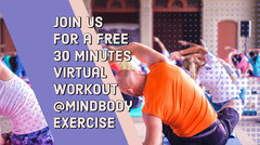 Virtual Exercise Twitter Post Graphic with People Working Out Workout