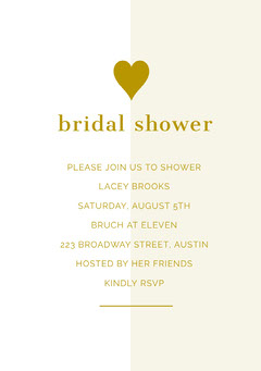 Gold Bridal Shower Invitation Card with Heart Gold