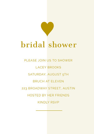 Gold Bridal Shower Invitation Card with Heart Invitación a despedida de soltera