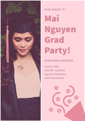 Pink Graduation Party Invitation Card with Photo of Student in Mortarboard Graduation Invitation
