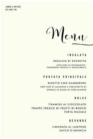 cream wedding menu  Menu