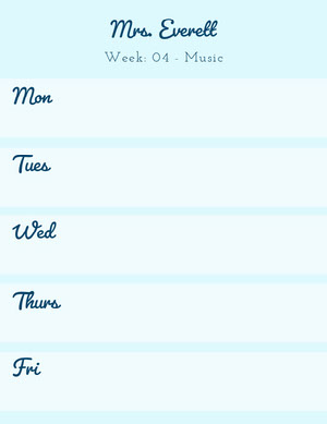 Light Blue School Music Lesson Plan Horario de clase