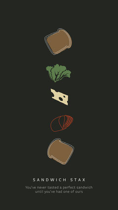 Black Background with Food Pictures Restaurant Ad Instagram Story Cheese