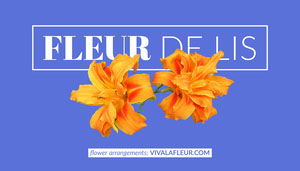 Blue and Orange Flower Arrangements Service Business Card with Flowers Tarjeta de visita