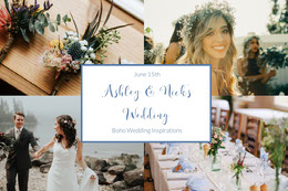 Boho Wedding Mood Board with Bride and Groom Photo Montage photo