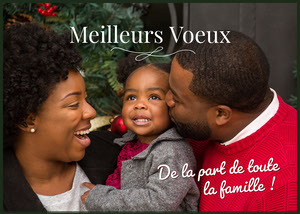 Red and White Family Best Wishes Holiday Card   Carte de Noël