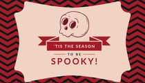 Pink Spooky Season Skull Halloween Party Gift Tag Scary