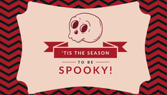 Spooky Season Skull Halloween Party Gift Tag Red