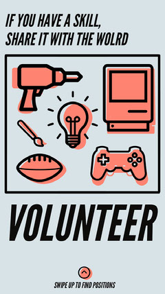 Light Blue and Orange Illustrated Volunteering Instagram Story Volunteer