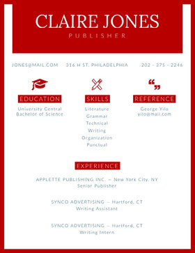 Red Publisher and Writer Resume Creative Resume