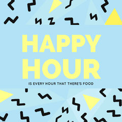 Blue, Black and Yellow Happy Hour Catchphrase Instagram Post Jokes