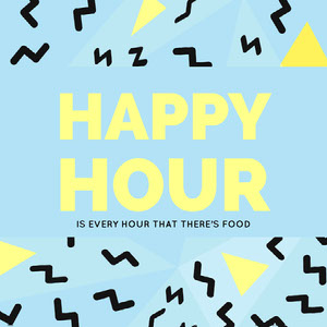 Blue, Black and Yellow Happy Hour Catchphrase Instagram Post Happy Hour Invitations