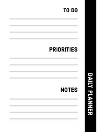 Black and White Empty Daily Planner Card Weekly Schedule