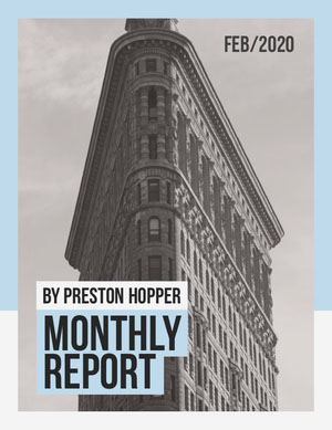 Black and White Flat Iron Building Monthly Report Relatório