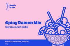 pink blue spicy ramen mix instant noodles food packaging  Ramen