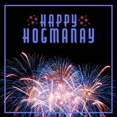 Blue & Red Fireworks Happy Hogmanay Instagram Square  Sky