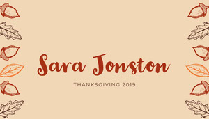 Brown Acorn Thanksgiving Dinner Place Card Tarjetas para mesas de invitados