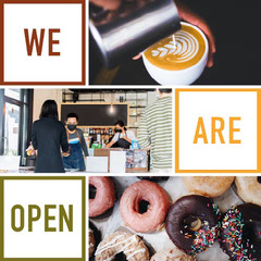Cafe Opening Announcement Instagram Square Ad with Photo Collage Donut