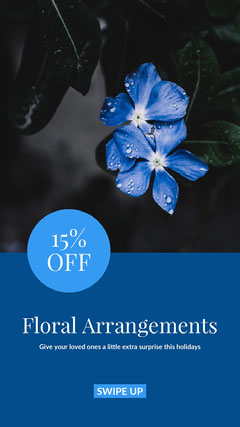 Blue, Cold Toned Flower Shop Sale Ad Instagram Story Shopping