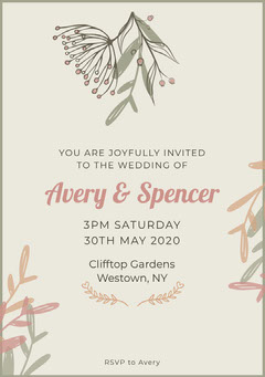 Pink Nature Wedding Invite  Rustic Wedding Invitation