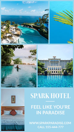 Blue, Light Toned Hotel Collage Ad Instagram Story Hotels