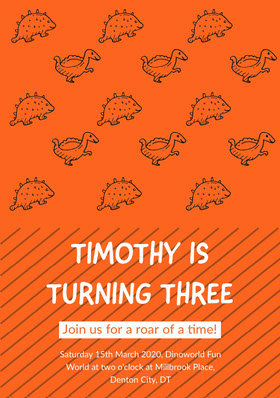 Orange Dinosaurs Birthday Party Invitation Card for Boy Birthday Invitation (Boy)