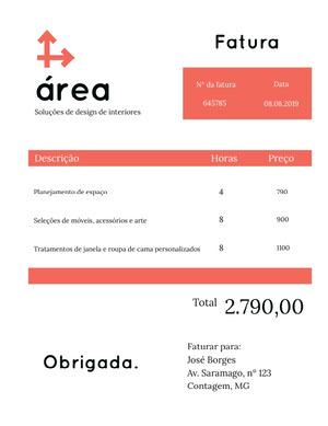 interior design invoice  Fatura
