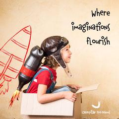 brown red preschool ad where imaginations flourish rocket instagram square  Preschool Flyer