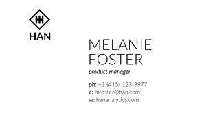 Black and White Professional Product Manager Business Card  Carte de visite