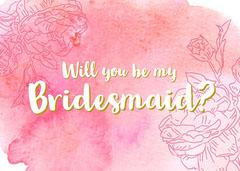pink watercolor bridesmaid invitation Will You Be My Bridesmaid Card
