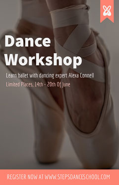 Orange Dance Workshop Flyer with Ballerina Shoes
