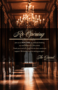 Chandelier Elegant Opening Poster COVID-19 Re-opening