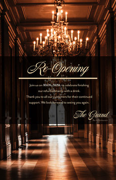 chandelier elegant re opening poster COVID-19 Re-opening