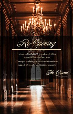 chandelier elegant re opening poster Grand Opening Flyer