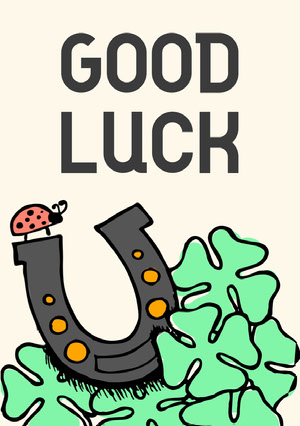 Horseshoe and Clover Illustration Good Luck Card Good Luck Card