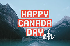 Red, Blue and White Happy Canada Day Facebook Banner Lake