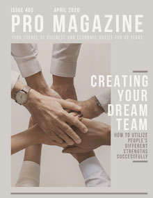 Gray Business Magazine Cover with Joined Hands Magazine Cover