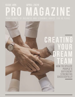 Gray Business Magazine Cover with Joined Hands Teams