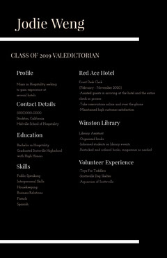 White and Black Professional Resume Educational Course
