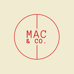 Cream & Red Circle Monogram Logo Typography