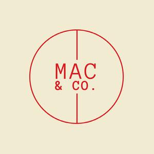 Cream & Red Circle Monogram Logo Logo Circulaire