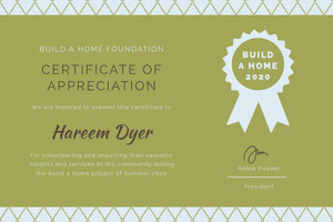 Green Build a Home Volunteer Appreciation Certificate  Certificados de Apreciación