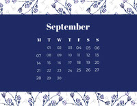 White and Navy Blue Calendar Card 日曆
