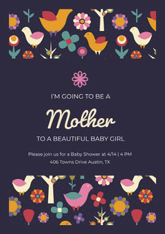 Dark Blue Illustrated Pregnancy Announcement Card with Birds and Flowers Baby Shower (Girl)