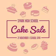Orange Illustrated High School Cake Sale Instagram Square Graphic Cupcake