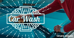 Blue, White and Red Car Wash Ad Facebook Banner Car