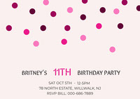 Pink, White and Purple Birthday Party Invitation Card 生日卡片