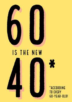 Yellow and Black Funny 60 Birthday Card Jokes