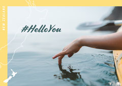 Yellow and Blue New Zealand Postcard Hello