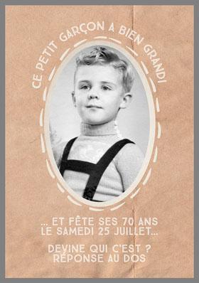 Brown Old Child's Picture Birthday Invite  Invitation d'anniversaire